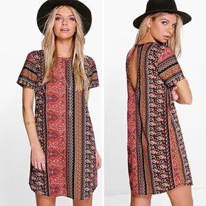 Boohoo paisley shift dress size 4